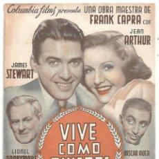 Flyers Publicitaires de films Anciens: VIVE COMO QUIERAS PROGRAMA DOBLE COLUMBIA JAMES STEWART JEAN ARTHUR. Lote 4264159