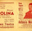 Cine: ANTONIO MOLINA. PROGRAMA DE SU ESPECTACULO HECHIZO PARA SU ACTUACION EN ELCHE EN 1955. Lote 114784659