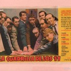 Cine: CINE LA CUADRILLA DE LOS 11 CON FRANK SINATRA DEAN MARTIN CINE KURSAAL AÑO1961. Lote 60705419