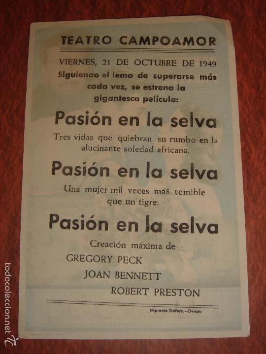 Cine: PASION EN LA SELVA. GREGORY PECK,JOAN BENNETT,ROBERT PRESTON.ZOLTAN KORDA.TEATRO CAMPOAMOR,OVIEDO - Foto 2 - 60863235