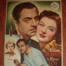 Foglietti di film di film antichi di cinema: DOBLE BODA. WILLIAM POWELL,MYRNA LOY. RICHARD THORPE. SIN PUBLICIDAD. Lote 60867803