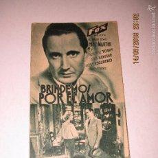 Cine: PROGRAMA DE CINE TARJETA CARTÓN *BRINDEMOS POR EL AMOR* EN TEATRO PRINCIPAL - AÑO 1936. Lote 60890179