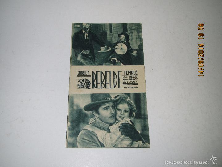 PROGRAMA DE CINE TARJETA CARTÓN *REBELDE* CON SHIRLEY TEMPLE - AÑO 1936 (Cine - Folletos de Mano - Comedia)