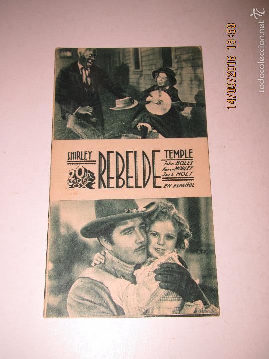 Cine: Programa de Cine Tarjeta Cartón *REBELDE* con SHIRLEY TEMPLE - Año 1936 - Foto 2 - 60890867