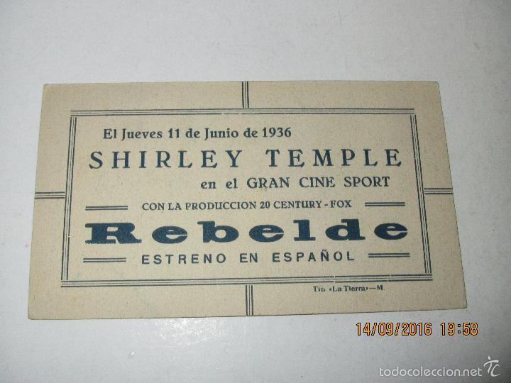 Cine: Programa de Cine Tarjeta Cartón *REBELDE* con SHIRLEY TEMPLE - Año 1936 - Foto 3 - 60890867