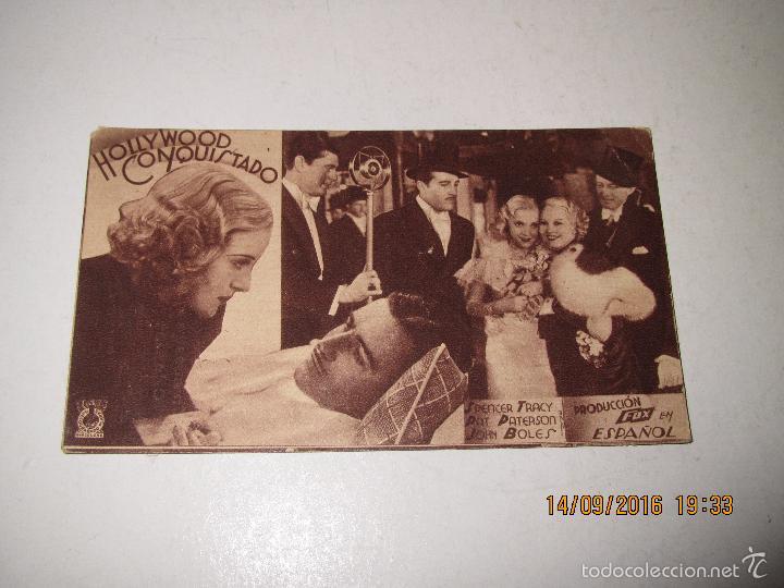 PROGRAMA DE CINE TARJETA CARTÓN *HOLLYWOOD CONQUISTADO* EN TEATRO MARIA LUISAI - AÑO 1936 (Cine - Folletos de Mano - Comedia)