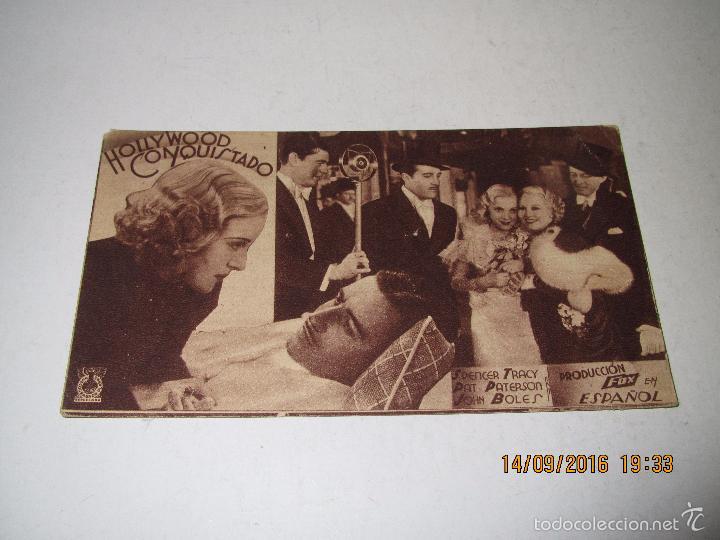 Cine: Programa de Cine Tarjeta Cartón *HOLLYWOOD CONQUISTADO* en Teatro MARIA LUISAI - Año 1936 - Foto 2 - 60891863