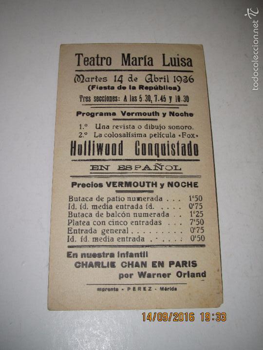 Cine: Programa de Cine Tarjeta Cartón *HOLLYWOOD CONQUISTADO* en Teatro MARIA LUISAI - Año 1936 - Foto 3 - 60891863