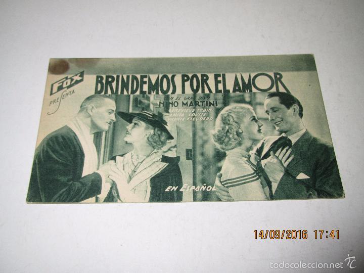 PROGRAMA DE CINE TARJETA CARTÓN *BRINDEMOS POR EL AMOR* EN CINE CENTRAL - AÑO 1936 (Cine - Folletos de Mano - Comedia)