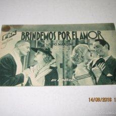 Cine: PROGRAMA DE CINE TARJETA CARTÓN *BRINDEMOS POR EL AMOR* EN CINE CENTRAL - AÑO 1936. Lote 60911971
