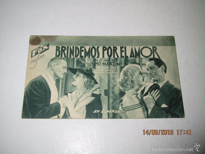Cine: Programa de Cine Tarjeta Cartón *BRINDEMOS POR EL AMOR* en Cine CENTRAL - Año 1936 - Foto 2 - 60911971
