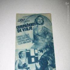 Cine: PROGRAMA DE CINE TARJETA CARTÓN *COMPAÑEROS DE VIAJE* EN TEATRO MARIA LUISA - AÑO 1936. Lote 60914159