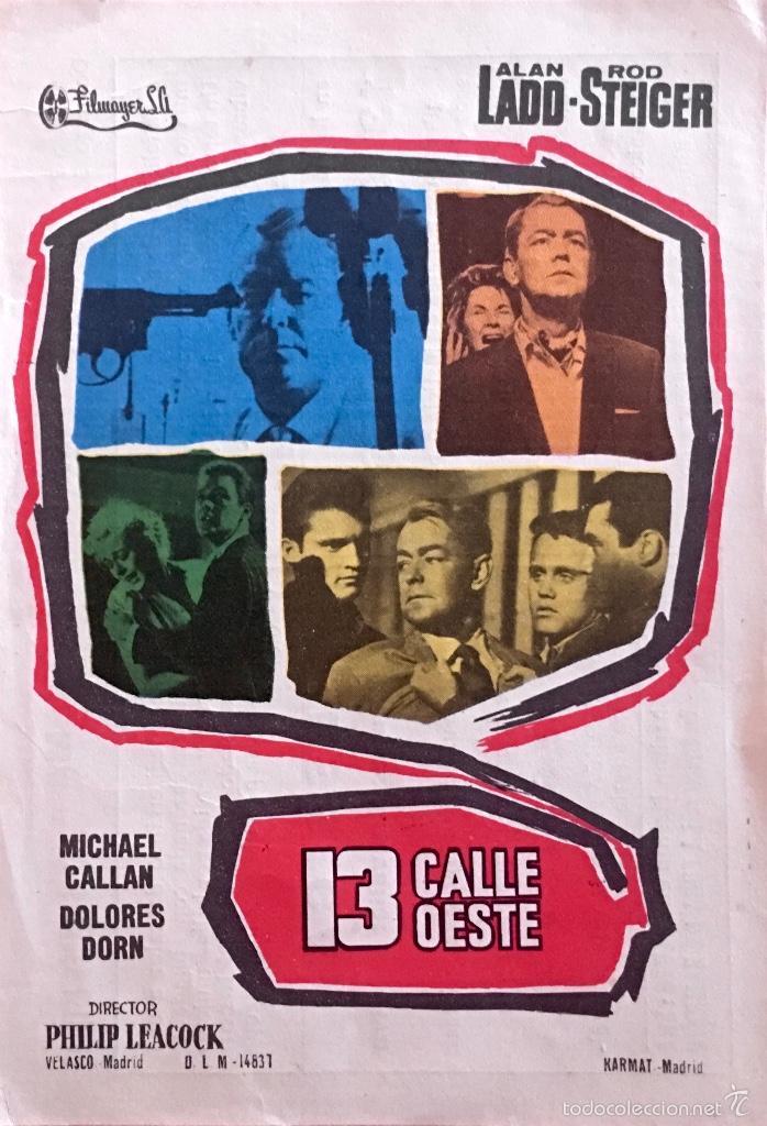 13 CALLE OESTE-ALAN LADD-ROD STEIGER- IMPERIAL CINEMA-CALLOSA DE SEGURA (Cine - Folletos de Mano - Acción)