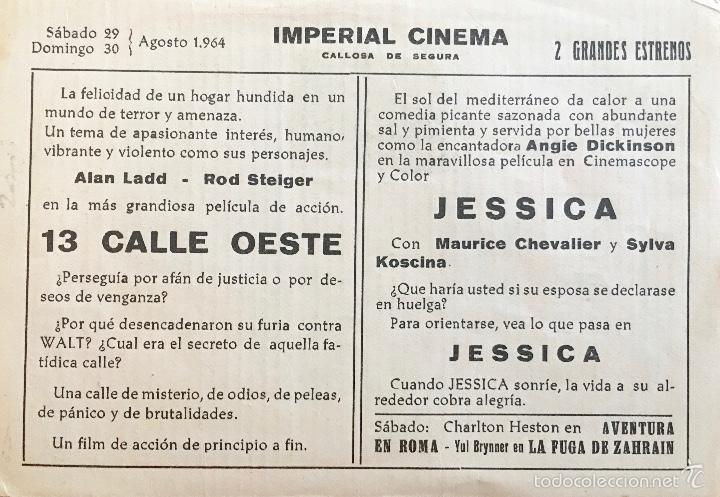 Cine: 13 CALLE OESTE-ALAN LADD-ROD STEIGER- IMPERIAL CINEMA-CALLOSA DE SEGURA - Foto 2 - 60915879