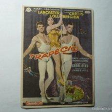 Cine: PEOGRAMA TRAPECIO -BURT LANCASTER -PUBLICIDAD. Lote 60926303