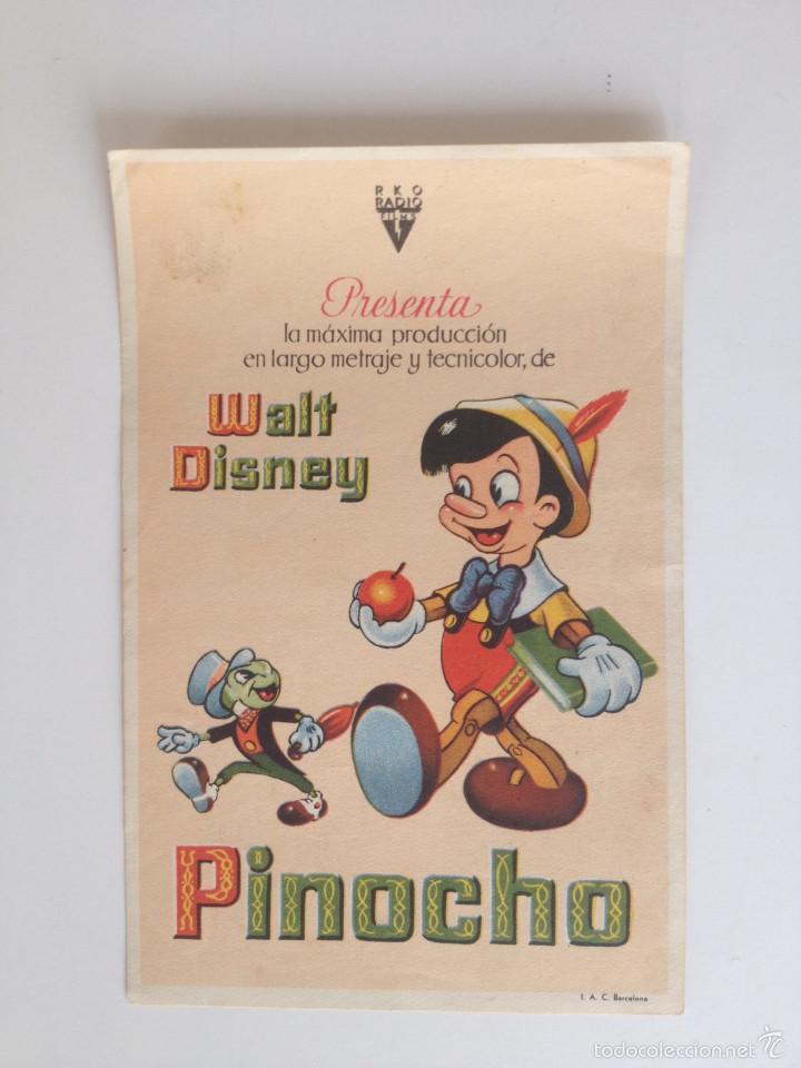 PINOCHO - PROGRAMA SENCILLO (SIN PUBLICIDAD) (Cine - Folletos de Mano - Infantil)