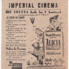 Cine: ANTIGUO PROGRAMA DE CINE LOCAL DE LA PELÍCULA ALICIA EN EL PAÍS DE LAS MARAVILLAS. Lote 60989179