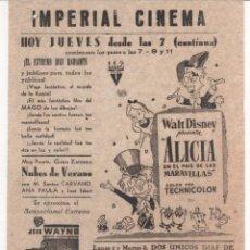 Cine: ANTIGUO PROGRAMA DE CINE LOCAL DE LA PELÍCULA ALICIA EN EL PAÍS DE LAS MARAVILLAS. Lote 60989295
