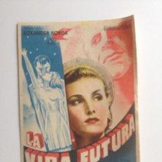Cine: LA VIDA FUTURA - PROGRAMA SENCILLO (CON PUBLICIDAD). Lote 61013503
