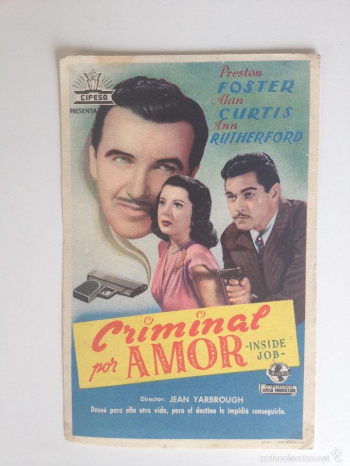 CRIMINAL POR AMOR - SENCILLO SIN PUBLICIDAD (Cine - Folletos de Mano - Comedia)