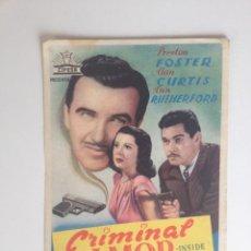 Cine: CRIMINAL POR AMOR - SENCILLO SIN PUBLICIDAD. Lote 61078371