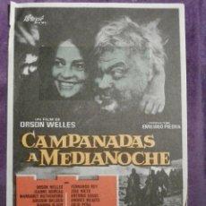 Cine: FOLLETO DE MANO - CAMPANADAS A MEDIANOCHE - UN FILM DE ORSON WELLES - SIN PUBLICIDAD AL DORSO -. Lote 61225971