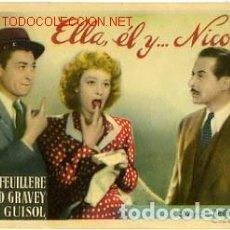 Cine: ELLA, ÉL Y NICOLÁS, EDWIGE FEUILLERE. Lote 61488819
