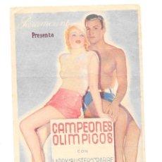Folhetos de mão de filmes antigos de cinema: CAMPEONES OLIMPICOS TARJETA CON PUBLICIDAD CINE CERVANTES 18 MAY0 1936. Lote 61622980
