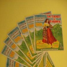Cine: LOTE 8 FOLLETO, FOLLETOS, PROGRAMA CINE - LOS AMORES DE CARMEN - AÑO 1948 -.. R-4357. Lote 72283043