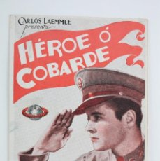 Cine: PROGRAMA DE CINE DOBLE - HÉROE O COBARDE - UNIVERSAL PICTURES, AÑO 1934. Lote 61824280