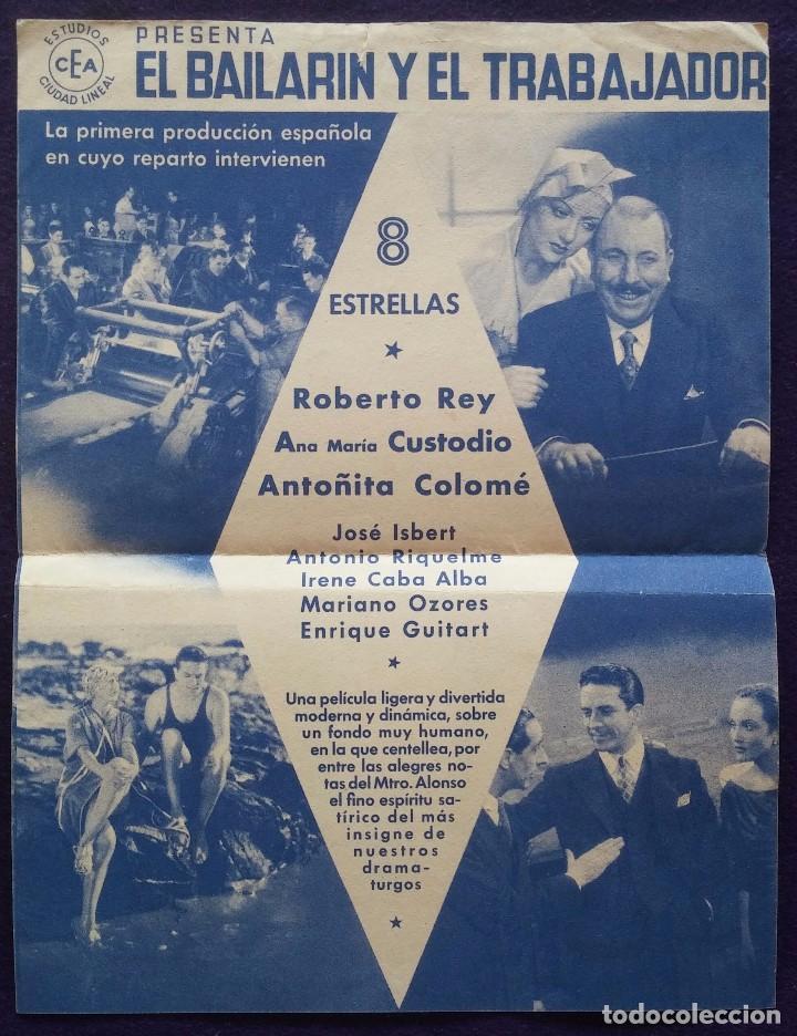 Cine: PROGRAMA DE CINE ORIGINAL. DOBLE. EL BAILARIN Y EL TRABAJADOR. - Foto 2 - 62151016