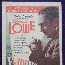 Cine: PROGRAMA DE CINE ORIGINAL. DOBLE. EL CORREO DE BOMBAY. AZI-ONA VERGARA. EN EUSKERA. EPOCA REPUBLICA . Lote 62151856