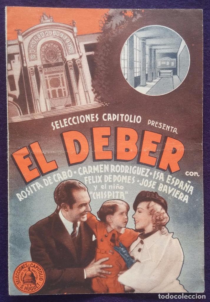 PROGRAMA DE CINE ORIGINAL. DOBLE. EL DEBER. EL SALON TEATRO. SANTIAGO. (Cine - Folletos de Mano - Comedia)