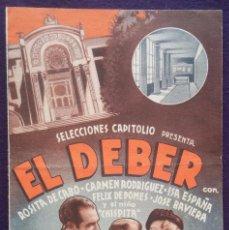 Cine: PROGRAMA DE CINE ORIGINAL. DOBLE. EL DEBER. EL SALON TEATRO. SANTIAGO.. Lote 62152320