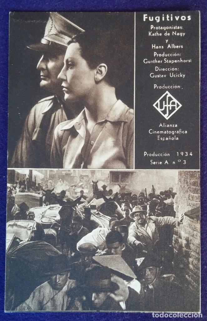 PROGRAMA DE CINE ORIGINAL. TARJETA. FUGITIVOS. 1934 (Cine - Folletos de Mano - Bélicas)