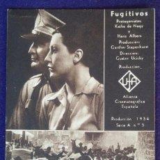 Cine: PROGRAMA DE CINE ORIGINAL. TARJETA. FUGITIVOS. 1934. Lote 62267708