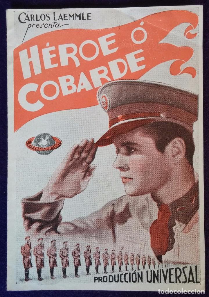 PROGRAMA DE CINE ORIGINAL. DOBLE. HEROE O COBARDE. AÑOS 30. (Cine - Folletos de Mano - Bélicas)