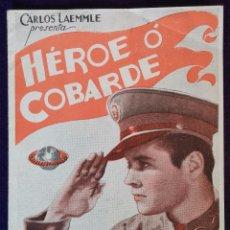 Cine: PROGRAMA DE CINE ORIGINAL. DOBLE. HEROE O COBARDE. AÑOS 30.. Lote 62268732