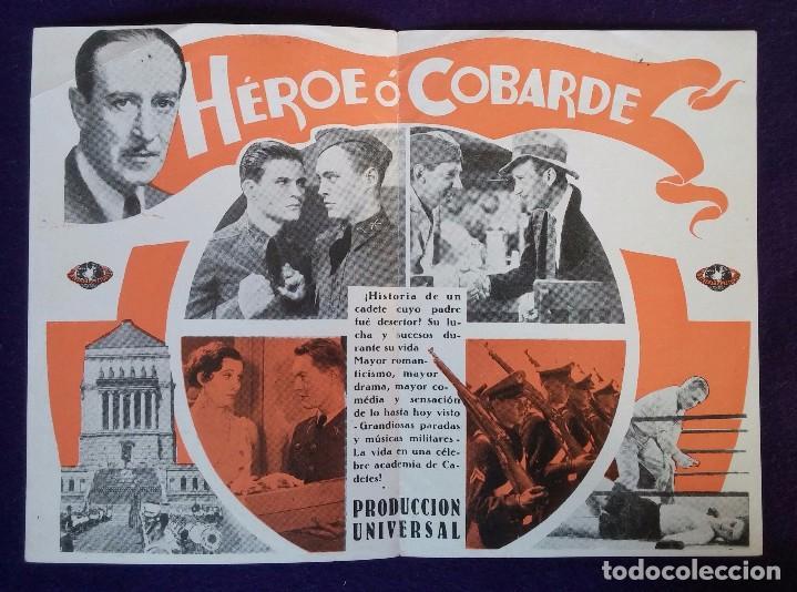 Cine: PROGRAMA DE CINE ORIGINAL. DOBLE. HEROE O COBARDE. AÑOS 30. - Foto 2 - 62268732