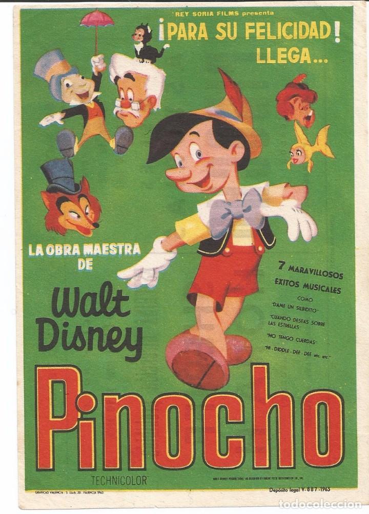 PINOCHO - SENCILLO - REY SORIA FILMS - CON PUBLICIDAD (Cine - Folletos de Mano - Infantil)
