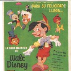 Cine: PINOCHO - SENCILLO - REY SORIA FILMS - CON PUBLICIDAD. Lote 62271772