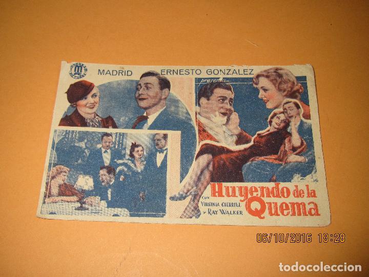 ANTIGUO PROGRAMA DE CINE CARTULINA *HUYENDO DE LA QUEMA* CON VIRGINIA CHERRILL EN CINE CIRCO DE 1935 (Cine - Folletos de Mano - Comedia)