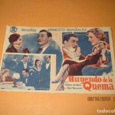 Cine: ANTIGUO PROGRAMA DE CINE CARTULINA *HUYENDO DE LA QUEMA* CON VIRGINIA CHERRILL EN CINE CIRCO DE 1935. Lote 62454144