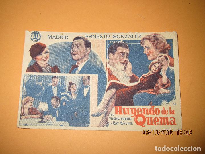 Cine: Antiguo Programa de Cine Cartulina *HUYENDO DE LA QUEMA* con Virginia Cherrill en Cine Circo de 1935 - Foto 2 - 62454144