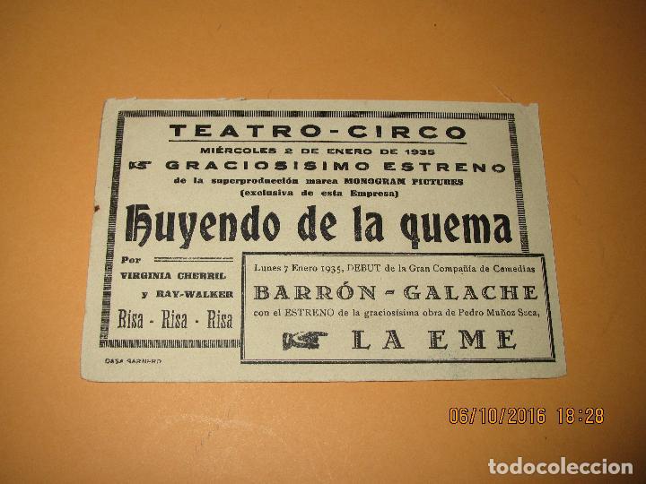 Cine: Antiguo Programa de Cine Cartulina *HUYENDO DE LA QUEMA* con Virginia Cherrill en Cine Circo de 1935 - Foto 3 - 62454144