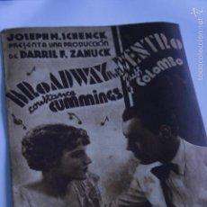 Cine: PROGRAMA DE CINE DOBLE BROADWAY POR DENTRO CONSTANCE CUMMINGS 1935 . Lote 62553188