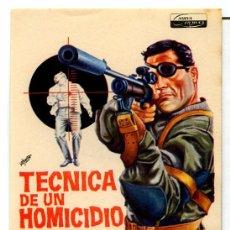 Cinema - TECNICA DE UN HOMICIDIO (FOLLETO PROGRAMA DE MANO ORIGINAL CON PUBLICIDAD CINE BAHIA) - 68725470
