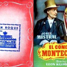 Cine: EL CONDE DE MONTECRISTO (FOLLETO PROGRAMA DE MANO ORIGINAL CON PUBLICIDAD CINE SAN ROQUE). Lote 277624358