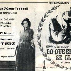Cine: LO QUE EL VIENTO SE LLEVO 1939 FOLLETO PROGRAMA DE MANO ORIGINAL CON PUBLICIDAD GRAN CINEMA GASTEIZ. Lote 182276945