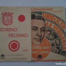 Cine: UNIDOS EN LA VENGANZA // PROGRAMA DOBLE PUBLICIDAD CINE MUNICIPAL, CADIZ AÑOS 40 // S. REPETO. Lote 63095464